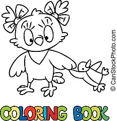 Coloring book of little funny owl with a doll