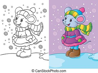 Coloring Book Of Mouse Dressed In Winter Clothes