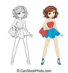Coloring Book Of Pinup Girl - Coloring book vector...