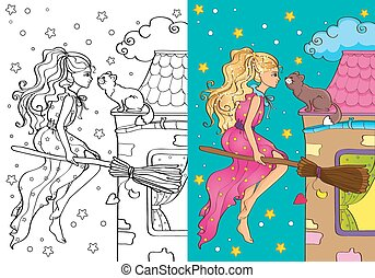 Coloring Book Of Pretty Witch Flying On Broomstick