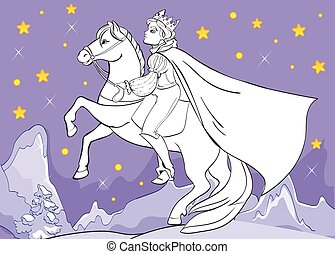 Coloring Book Of Prince Rides Horse At Night