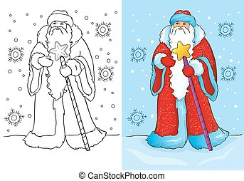 Coloring Book Of Santa Claus Or Father Frost - Vector...