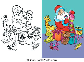 Coloring Book Of Santa Claus Packs Gifts
