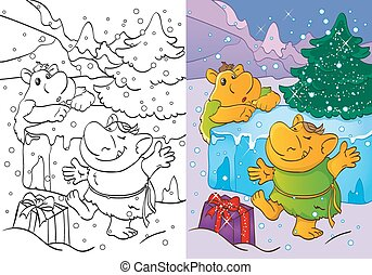 Coloring Book Of Trolls Got Christmas Gift - Vector...