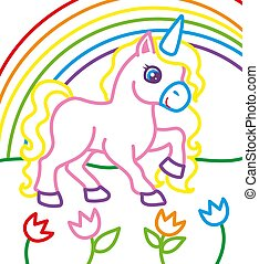 Coloring Book Of Unicorn Near Rainbow