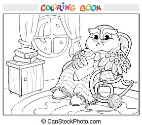 Coloring book. Old owl in chair knitting a sock. - Coloring...