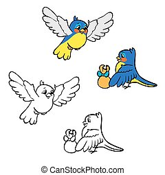 Coloring book or page. Birds with gift.