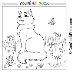 Coloring book or page. Cat sit on grass among flowers and butterfly.