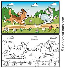 Coloring book or page. Dog in the meadow chasing a rabbit.