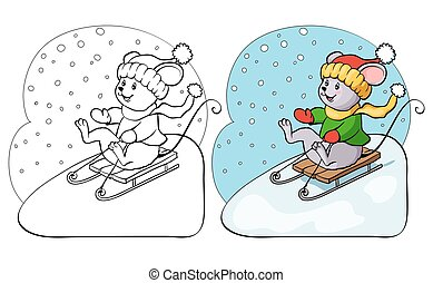 Coloring book or page. Vector mouse on sled.