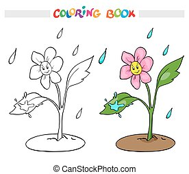 Coloring book or page. Flower daisy rejoices rain - vector illustration.