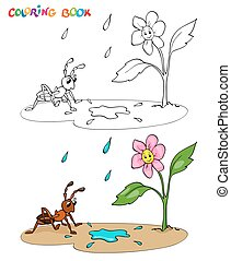 Coloring book or page. Flower daisy with ant, it's raining....