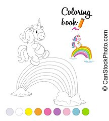 Coloring book or page for children with cartoon unicorn and rainbow bridge