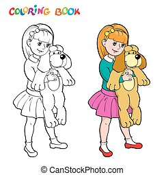 Coloring book or page. Girl with a toy dog.