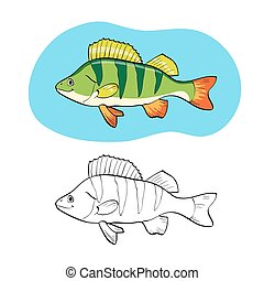 Coloring book or page, illustration with fish perch.