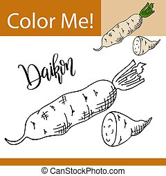 Coloring book or page of vegetable. Vector illustration with...