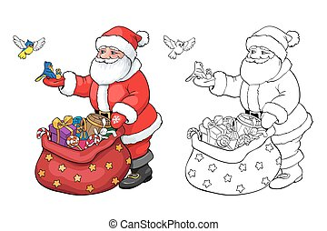 Coloring book or page. Santa Claus with Christmas gifts.