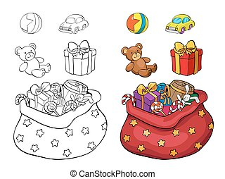 Coloring book or page. Set of Christmas gifts.