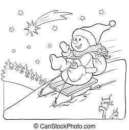 Coloring book or page. Snowman on the sled with gifts. -...
