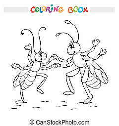 Coloring book or page. Two fanny bugs is dancing.