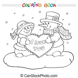 Coloring book or page. Two snowmen with heart.