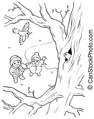 Coloring book or page. Wild bird on the tree and two children. Springtime.