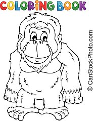Coloring book orangutan theme