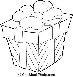 Coloring Book Outline Gift Box with Ribbon