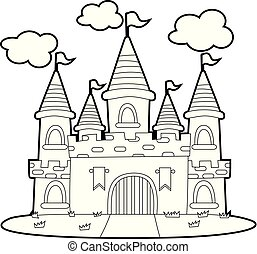 Coloring Book Outlined Big Princess Castle