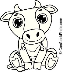 Coloring Book Outlined Cow Sitting Position