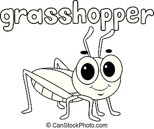 Coloring Book Outlined Grasshopper