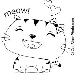 Coloring Book Outlined Happy Cute Cat