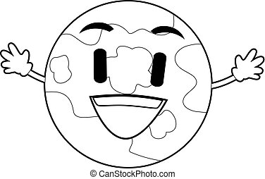 Outlined Planet Earth Mascot