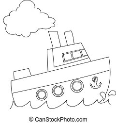 Outlined Ship
