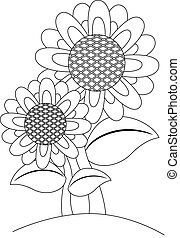 Outlined Sunflower