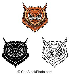 Coloring book Owl head character