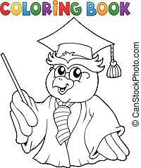 Coloring book owl teacher