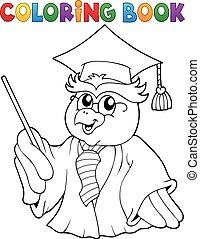 Coloring book owl teacher