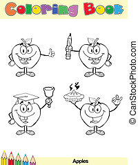 Coloring Book Page Apples