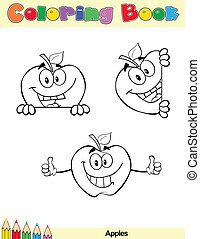 Coloring Book Page Apples Cartoon Character