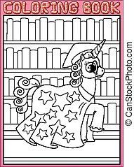 Coloring book page. Astronomy master unicorn horse walks...