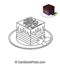 Coloring book page. Cake in monochrome style. Blueberry cake topped with chocolate. Floral, ornate, decorative vector dessert illustration. Black and white line design
