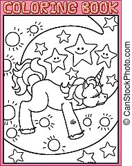 Coloring book page Cute little unicorn on the moon
