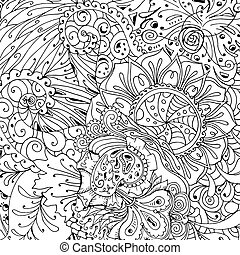 Coloring book page design with pattern. Mandala ethnic ornament.