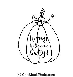 Coloring book page design with witch accessory for Happy Halloween Party, pumpkin.