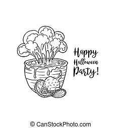 Coloring book page design with witch accessories for Happy Halloween holiday