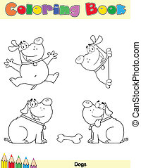 Coloring Book Page Dogs Cartoon Character 2