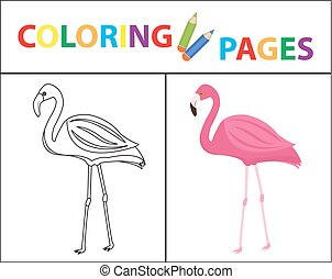 Coloring book page. Flamingo. Sketch outline and color version. Coloring for kids. Childrens education. Vector illustration.