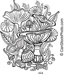 Coloring book page for adult with mushrooms. Black and...