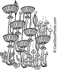 Coloring book page for adult with mushrooms